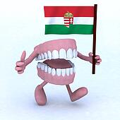 dentures with arms and legs carrying a hungarian flag