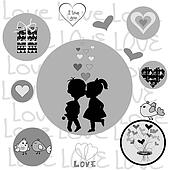 Round frame with Valentine elements