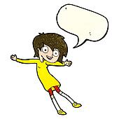 cartoon crazy excited girl with speech bubble