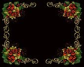 Christmas border frame on black