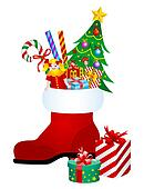 Christmas boot with gifts