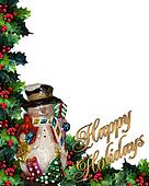 Happy Holidays Background Snowman 3