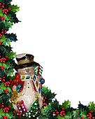 Christmas Background Snowman and Ho