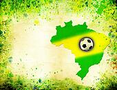 The Brazil map, flag and soccer ball on grunge background