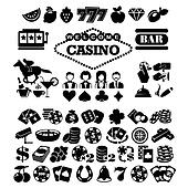 The set of vector flat casino icons