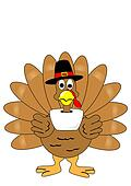 Isolated turkey with pilgrim hat
