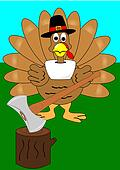 Turkey with axe and stump vector
