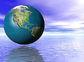 3d Concept Earth Globe ocean water and cloudy blue sky