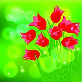 Vector card with red tulips on light green bokeh