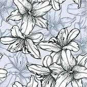 black and white seamless background with lilies.