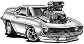'69 Muscle Car Cartoon With Blower