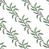 Watercolor tree branch seamless pattern.