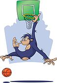 Chimpanzee playing basketball