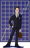 Businessman in suit, against chart