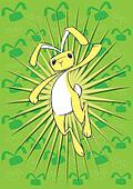 Easter bunny leaping