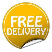 FREE DELIVERY round yellow sticker on white background