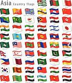 Vector Asian National Flag Set