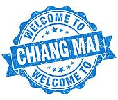 welcome to Chiang Mai blue vintage isolated seal