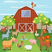 Farm with animals