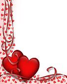 Valentines Day Red Hearts Border