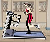 Treadmill fitness - Colorful illustration