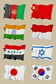 Eight Asian flags