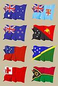 Eight Oceanic flags