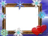 Frame for wedding, Anniversary or valentine's day invitations with blue background.