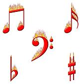 Music Notes on Fire 2 of 2