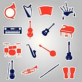 musical instruments stickers eps10