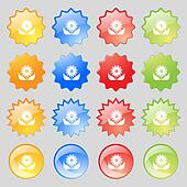 Bouquet of flowers with petals icon sign. Big set of 16 colorful modern buttons for your design.