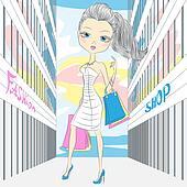 Vector beautiful fashionable girl shopping
