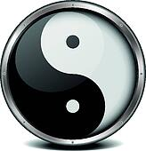 yinyang icon with metal frame