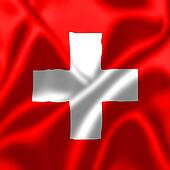 Switzerland flag blowing in the wind