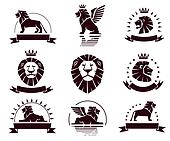 Lions logotypes set