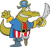 Cartoon alligator dressed as a pira
