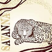 Savanna background with hand drawn leopard