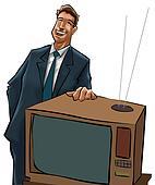 The tv sells man