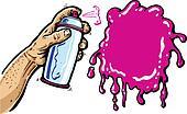 Hand with spray can cartoon vector illustration