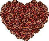 Heart shape bunch of roses for Valentines vector illustration