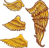Tattoo style vector wings