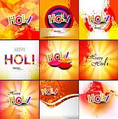 Beautiful Indian festival grunge colorful collection celebration happy holi set background vector illustration