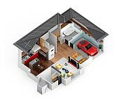 Cutaway view of smart house