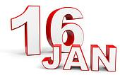 January 16. 3d text on white background.