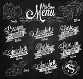Menu Italian spaghett chalk