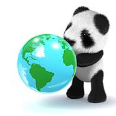 3d Baby panda bear looks at a globe of the Earth