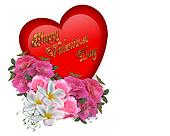 Valentine Heart and Flowers graphic