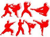 Karate silhouettes