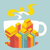 city ??buildings inside the cup of coffee