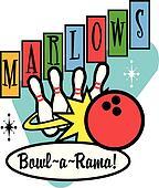 Bowling Ball Pins Retro Clip Art